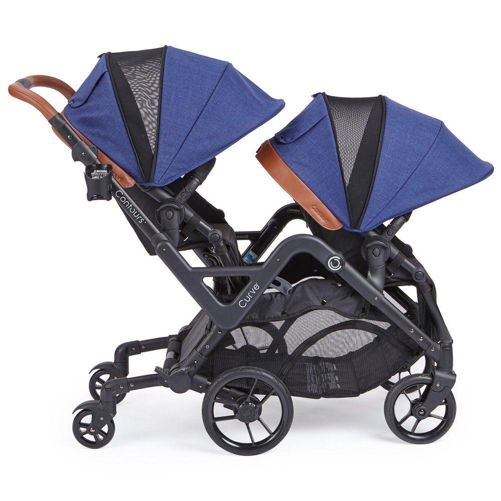 Contours Curve Tandem Double Stroller Indigo (With