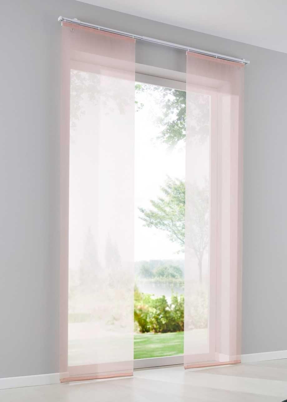 Einfarbige Schiebegardine Aus Transparentem Gewebe Rosa Klettschiene Schiebegardine Schiebevorhang Vorhange