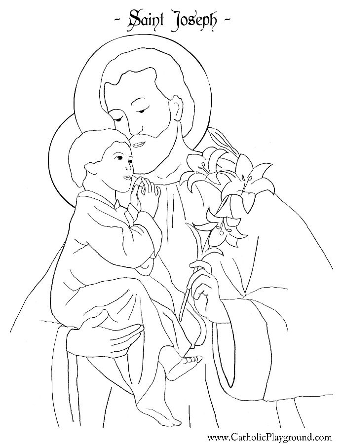 Saint Joseph Coloring Page Catholic Playground Saint Coloring St Josephs Day Catholic Coloring