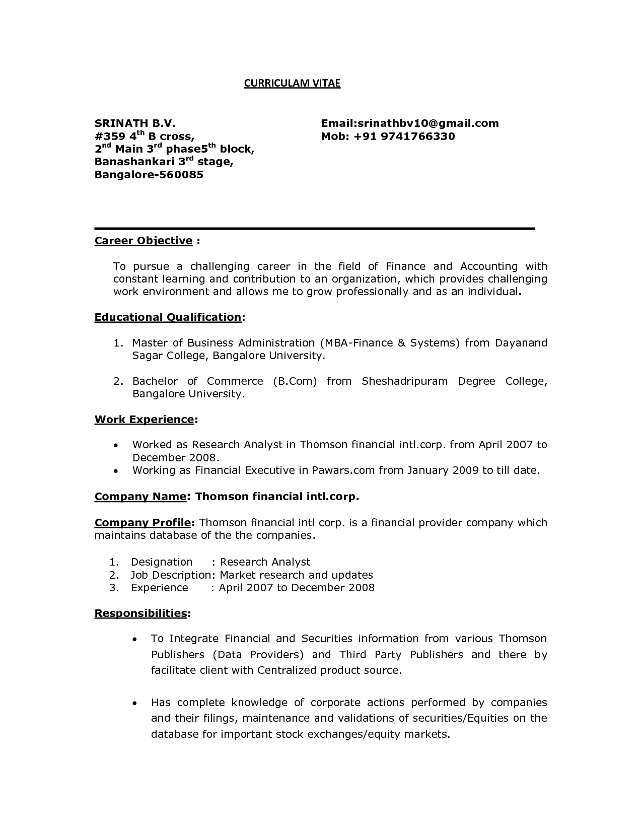 Career Objective Resume Like For Finance Examples