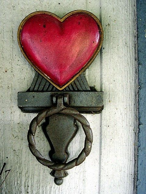 This antique heart shaped door knocker is sure to bring warmth and ...