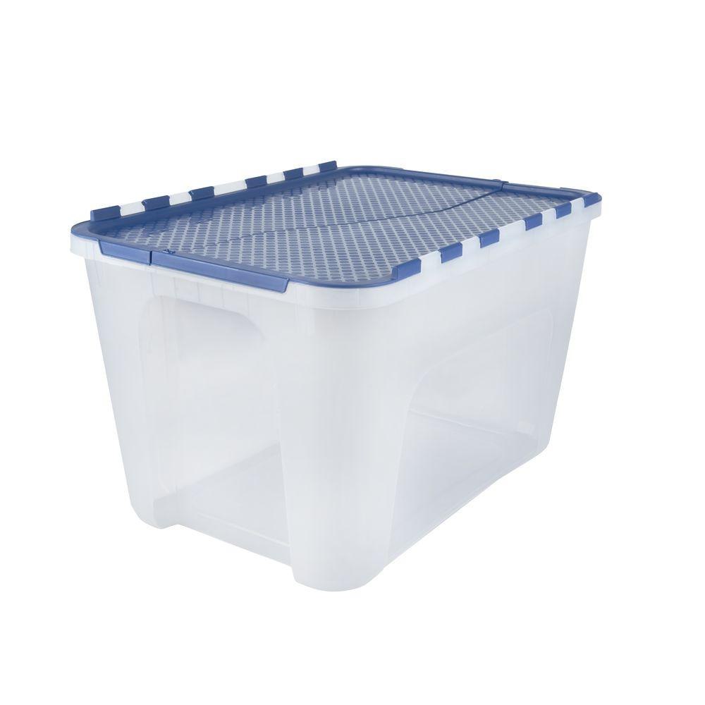 Flip-Top Storage Tote (4-Pack) Blue/Clear  sc 1 st  Pinterest & 12 Gal. Flip-Top Storage Tote (4-Pack) Blue/Clear   Products