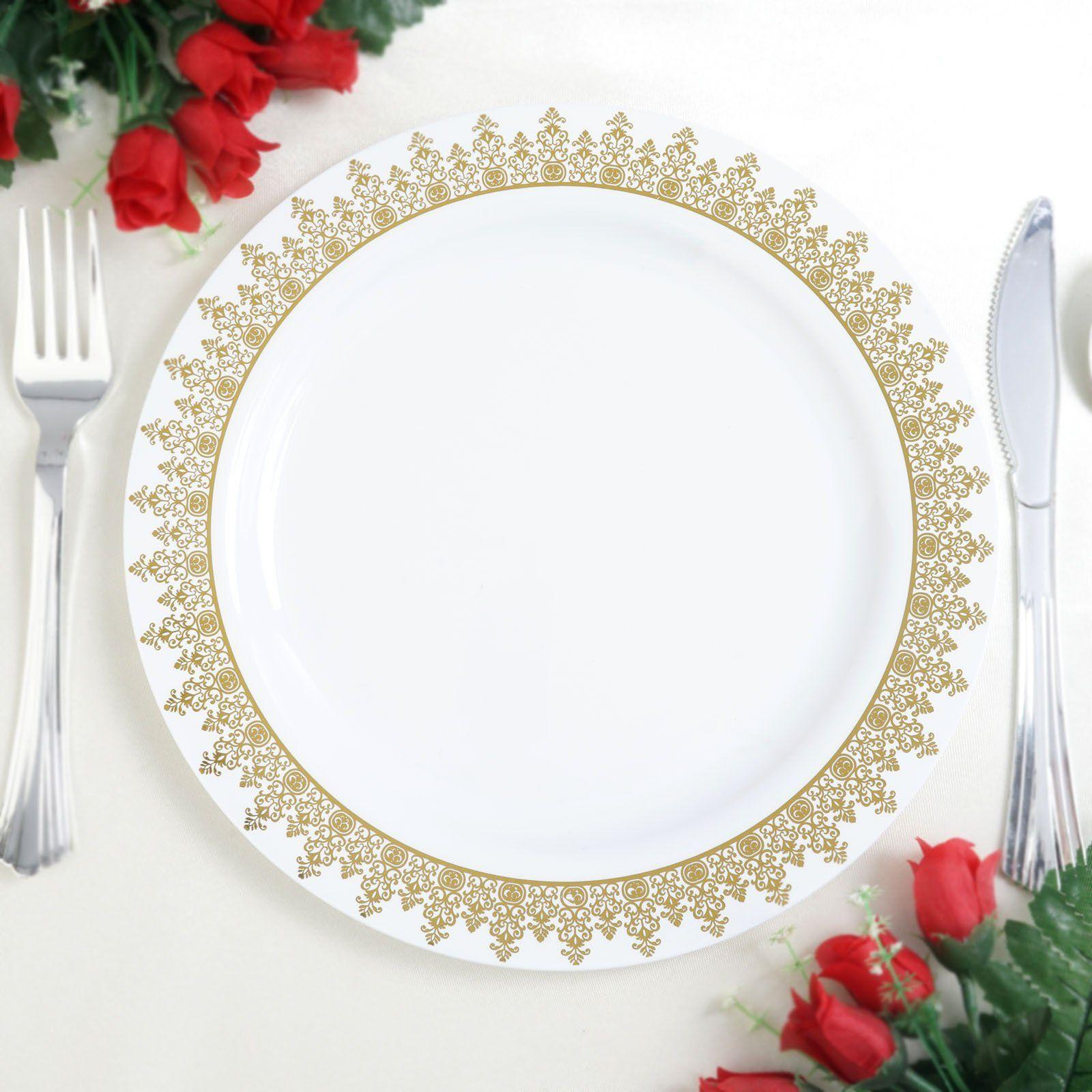 "8/"" White Round Salad Plates Gold Trim Party Wedding Disposable Tableware"