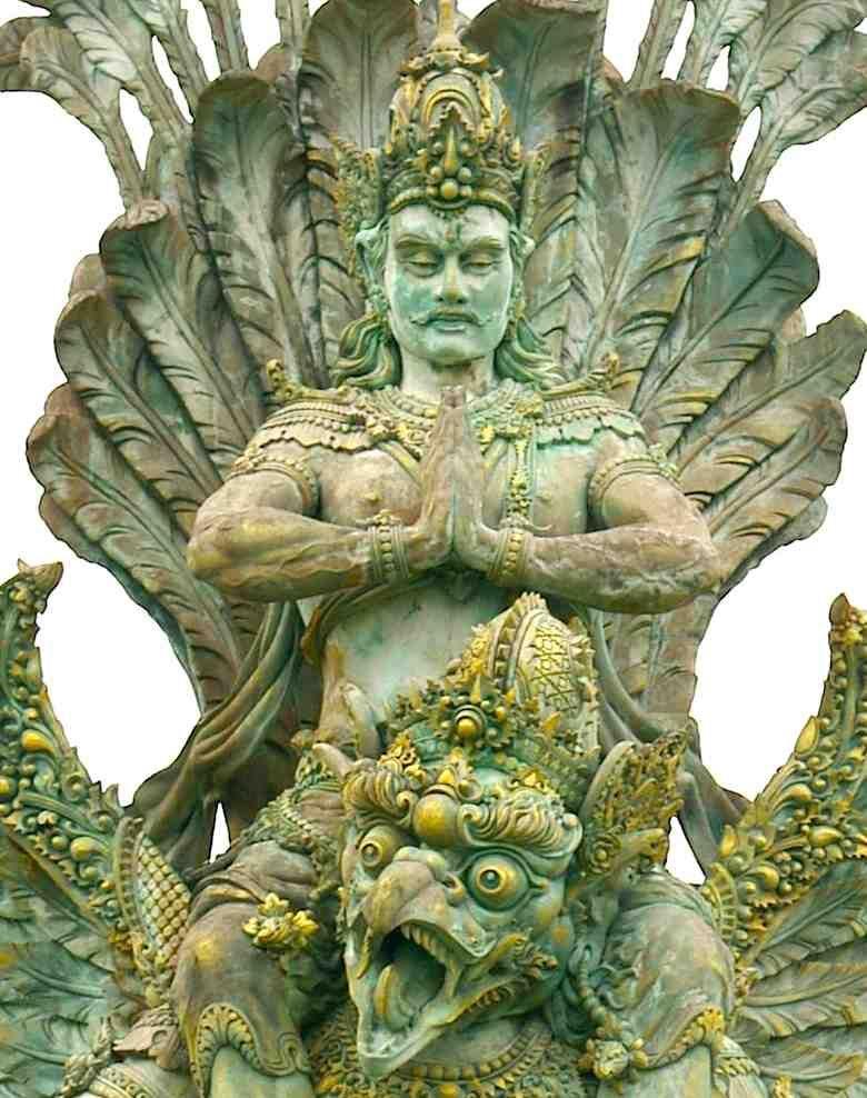 Vishnu riding on Garuda. One of the greatest deities worshipped in Bali. ETSY by SatayasLotusArt