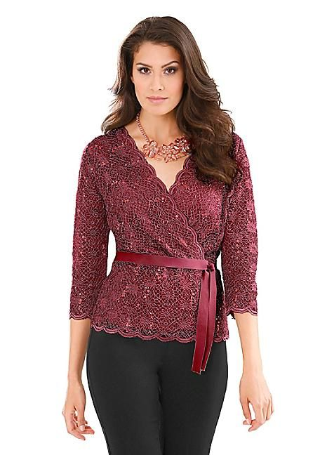 Sequin Embellished Lace Top