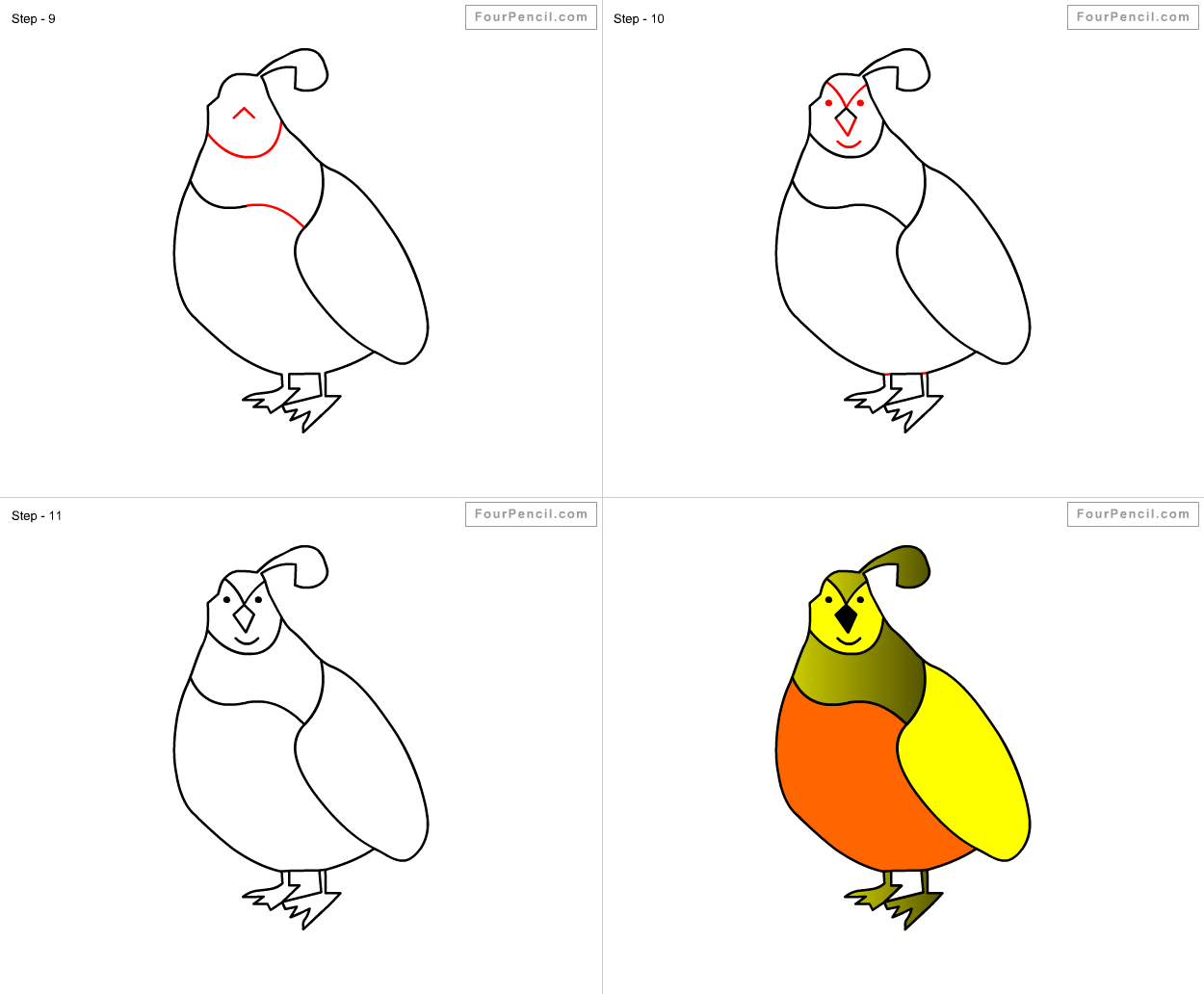 How To Draw Quail For Kids Step By Step Drawing Tutorial, Draw Quail For  Kids