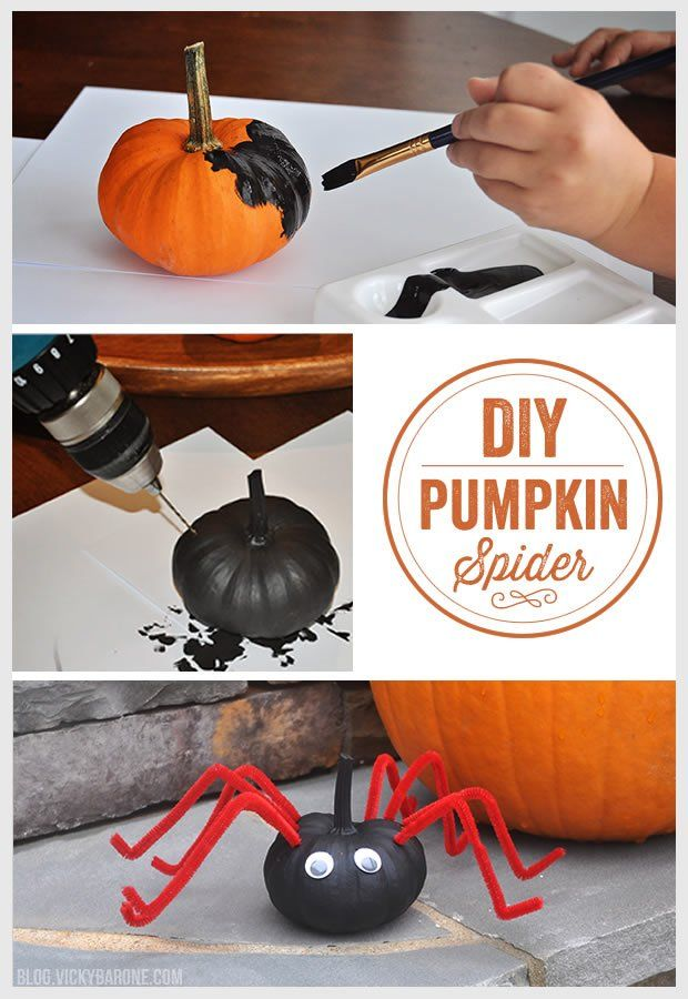 Diy Spider Pumpkin Vicky Barone Halloween Crafts Pumpkin Spider Halloween Preschool