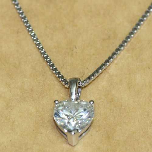 1 carat ct heart shaped solid 14k 585 white gold lab grown 1 carat ct heart shaped solid 14k 585 white gold lab grown moissanite diamond pendant necklace aloadofball Gallery