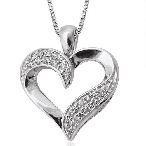 10k white gold heart diamond pendant necklace 15 carat check out 10k white gold heart diamond pendant necklace 15 carat check out this aloadofball Choice Image