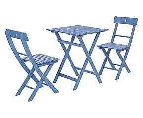 Set 2 sedie e tavolino in acacia Balcony azzurro - 3 pezzi