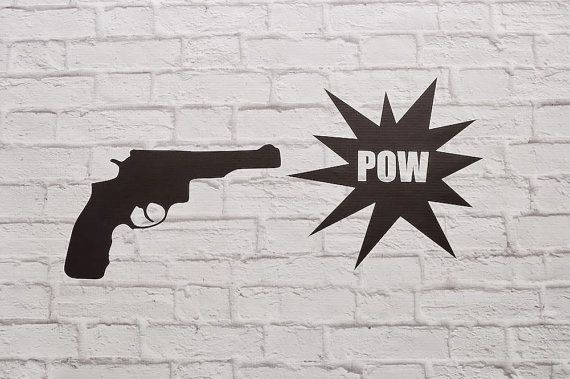 Vinyl Wall Decal Pop Art Gun Pow by Msapple on Etsy