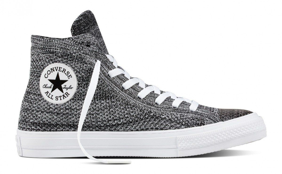 ba2f474b8d253b Converse Chuck Taylor All Star X Nike Flyknit Hi Top Black Wolf Grey White