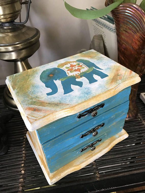 Wooden jewelry box repurposed and painted elephant Turquoise