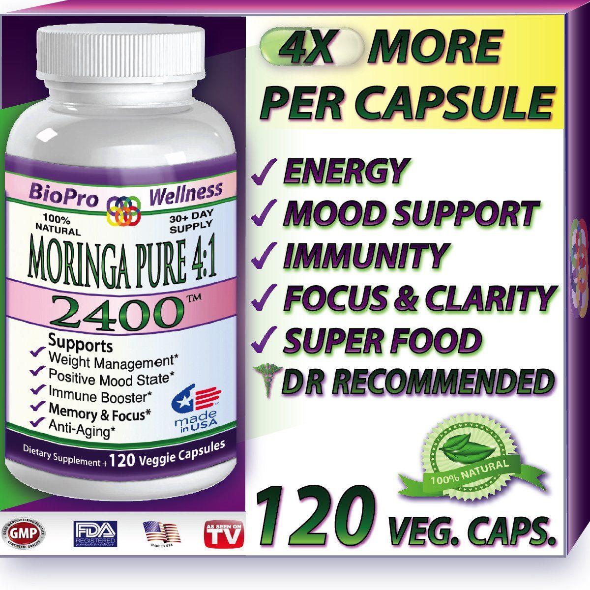 Pure Moringa Oleifera, 2400mg Daily, 1 Focus Brain Mood