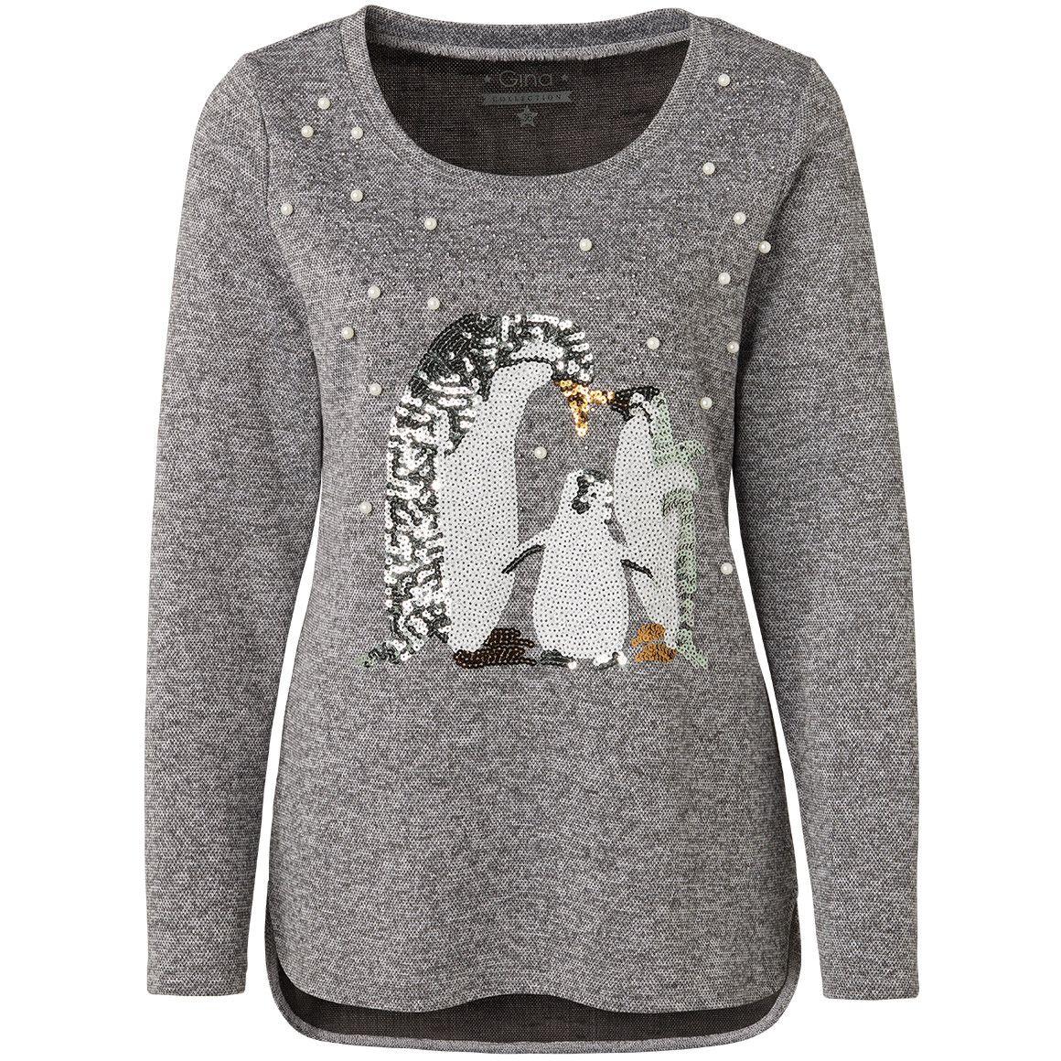 Ab 25 11 18 Gina Grau Meliertes Damen Shirt Mit Pinguinen Aus Pailletten Und Einer Vielzahl An Zierperlen U Ziersteinen Seite Kleidung Damenkleider Modestil