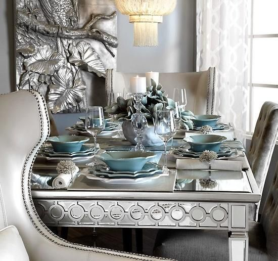 Sophie Mirrored Dining Table Home Decor Decor Teal