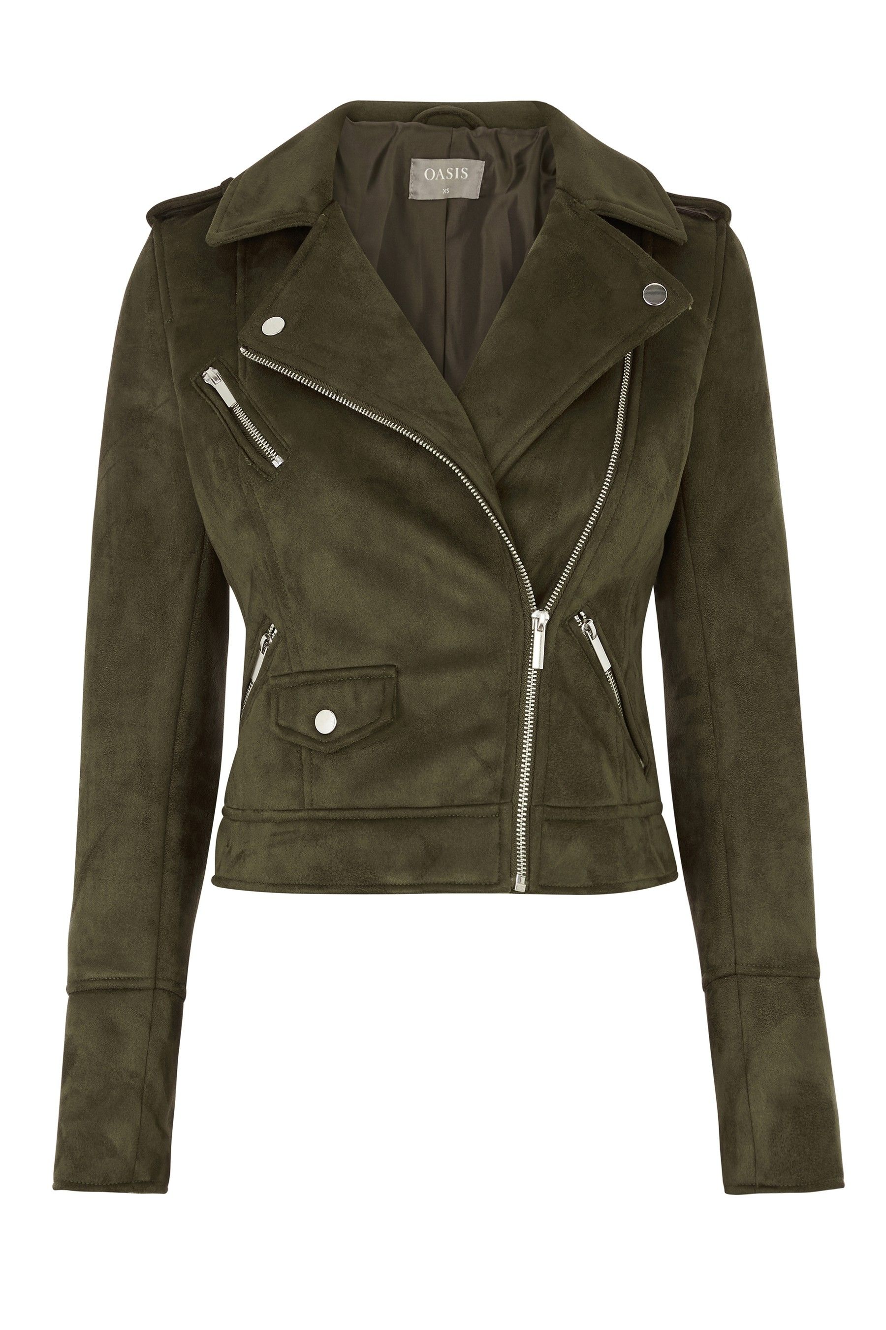 114b254bab5a Womens Oasis Green Faux Suede Biker Jacket - Green | Products in ...