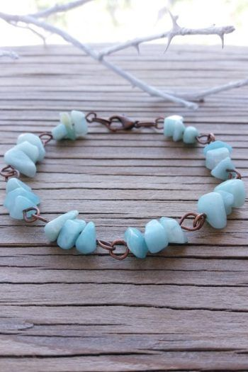 Photo of For Sale: Amazonite Bracelet Chip Gemstone Jewelry Blue Stone…