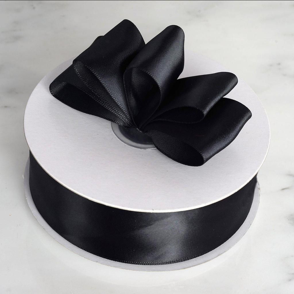 "NEW DIY 50 Yards 3//8/"" Sizes Black Satin Edge Sheer Organza Ribbon Bow Craft"