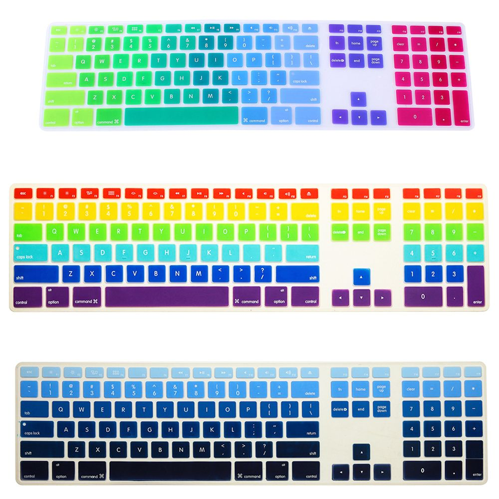Newest rainbow gradient colors silicone keyboard cover for