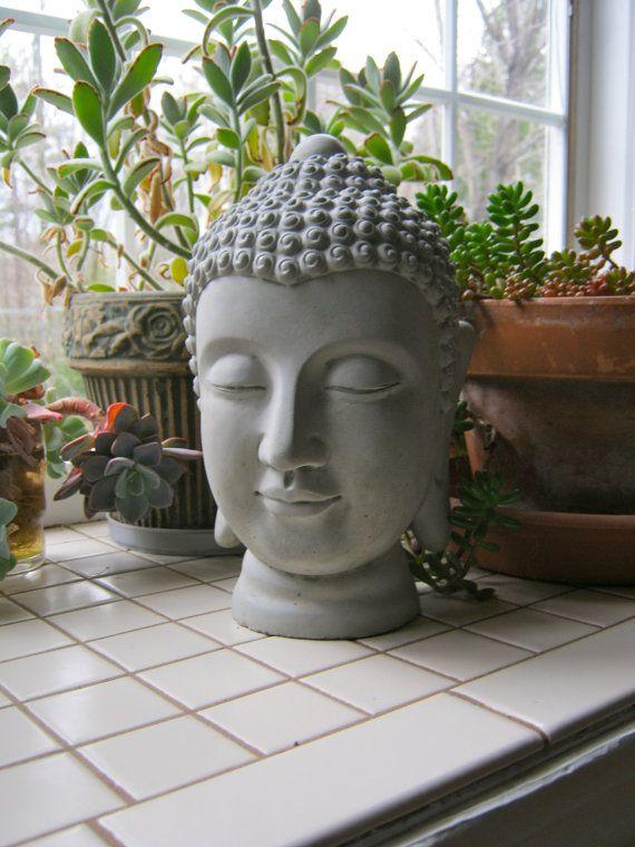 Buddha Head Statue Concrete Buddhism Figure Cement Garden Decor Blue Buddhas Black Buddhas Head Statue Buddha Statue Garden Statue