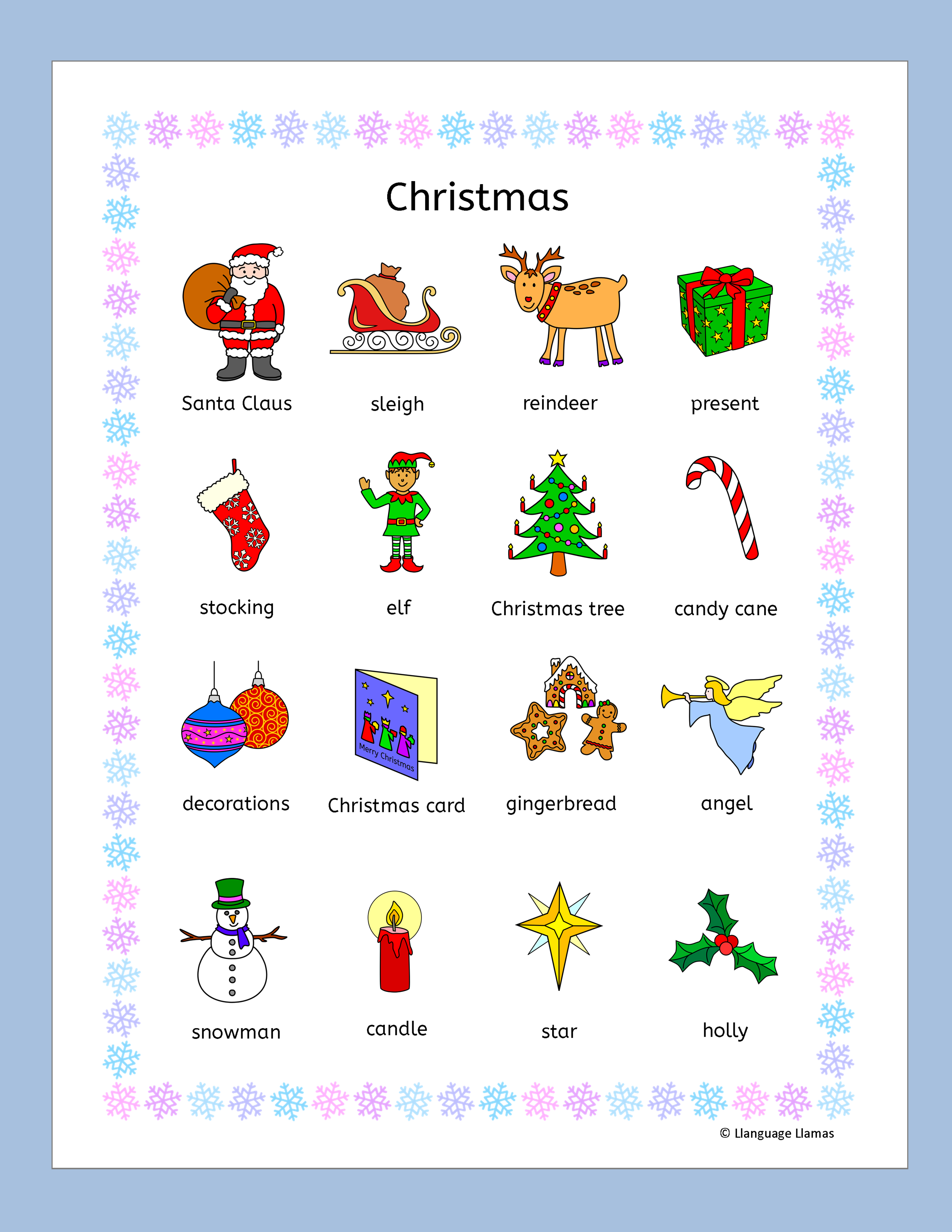 Fun Christmas Resources For The Efl Esl Eal Classroom 96 Pages Of Flashcards Word Wall Handout English Vocabulary Games Christmas Bookmarks Vocabulary Games