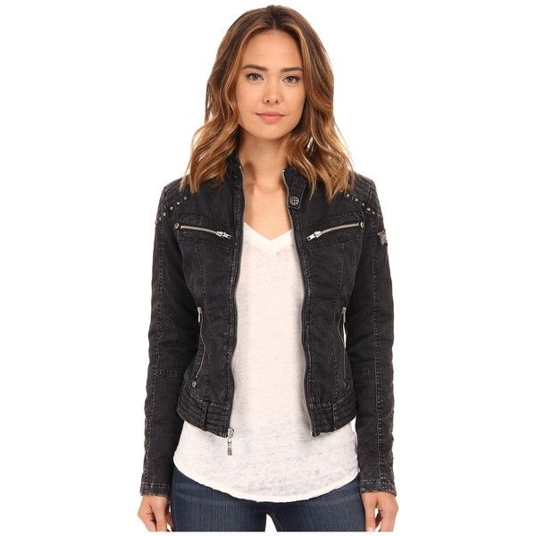 Affliction Soul Fire Cotton Moto Jacket Women's Coat ($138) ❤ liked on Polyvore featuring outerwear, coats, studded moto jacket, black coat, cotton motorcycle jacket, quilted biker jacket y moto jacket