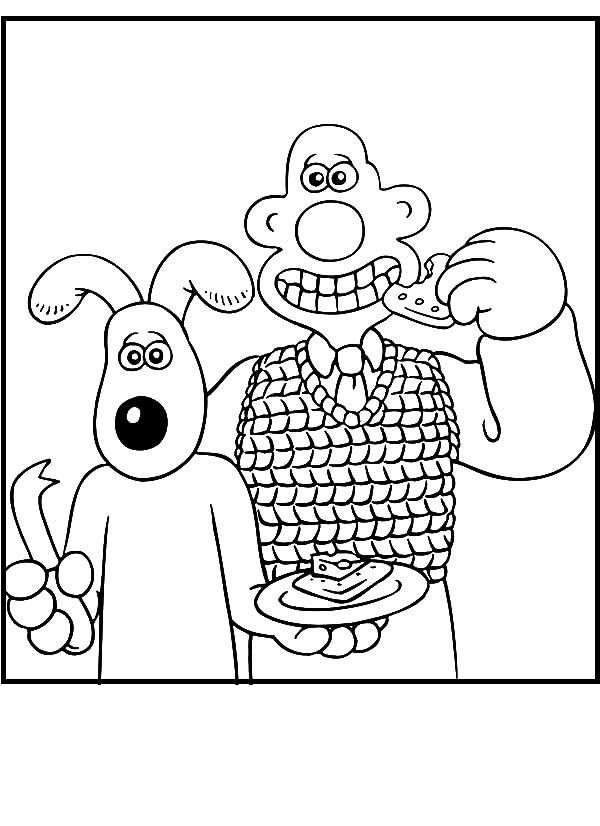 wallace and gromit coloring pages | Wallace and Gromit Eat Slice of Cake coloring picture for ...