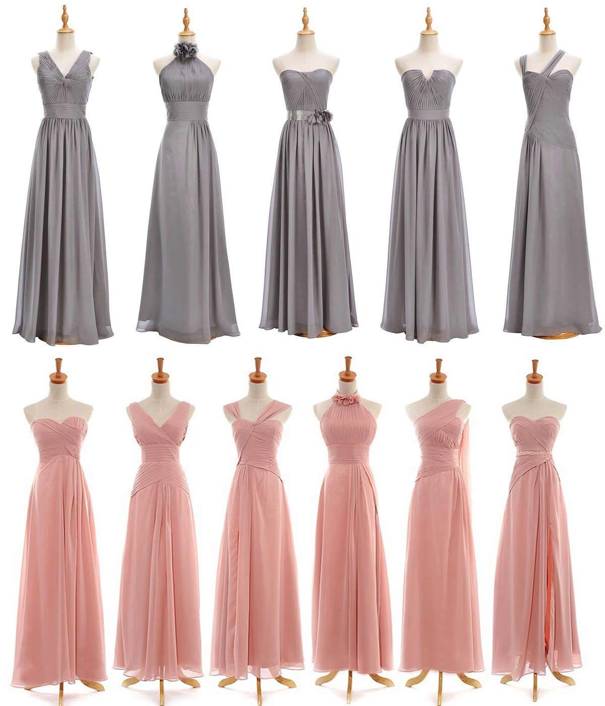 Pink bridesmaid dressessilver chiffon long floorlength bridesmaid