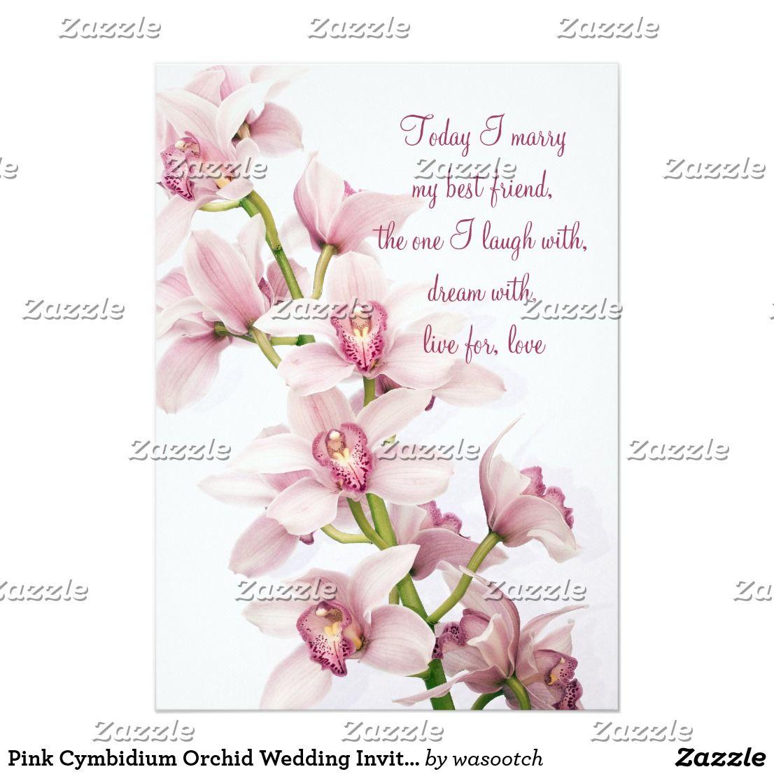 Pink Cymbidium Orchid Wedding Invitation 5x7 Size | Orchid wedding ...