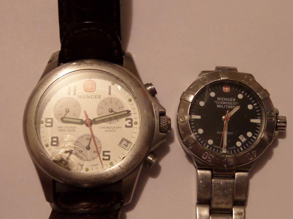 2 Swiss Wenger Watch Lot Tinker Needs Battery Parts Repair 5360777