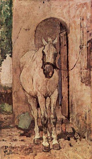 Horse Drug | White Horse in Front of A Door - Giovanni Fattori