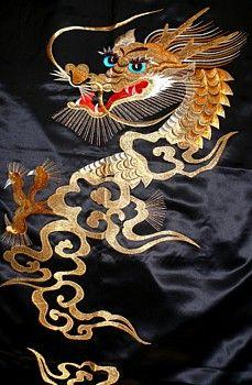 embroidered image of Dragon on kimono back