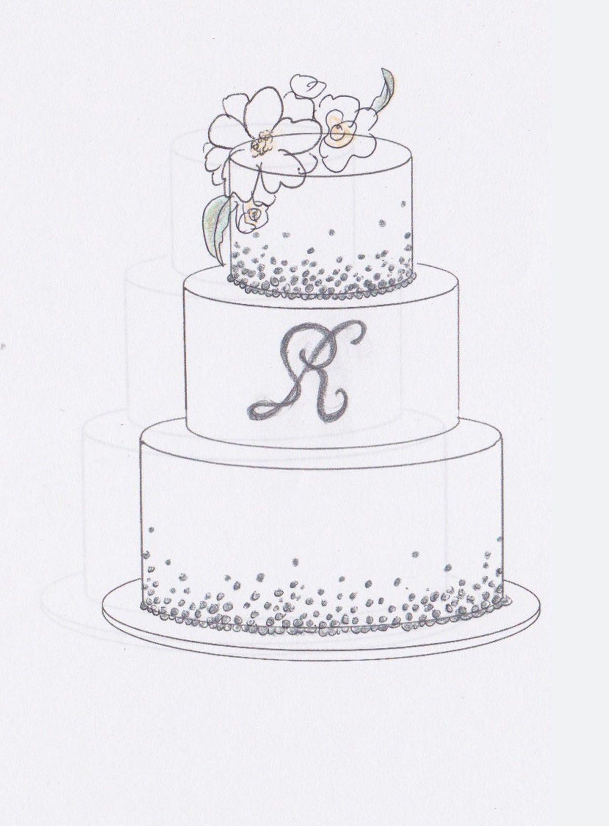 Wedding Cake Sketch Interests Mongram Tier Embellishments But Too Simple Wedding Cake Drawing Cake Drawing Cake Sketch