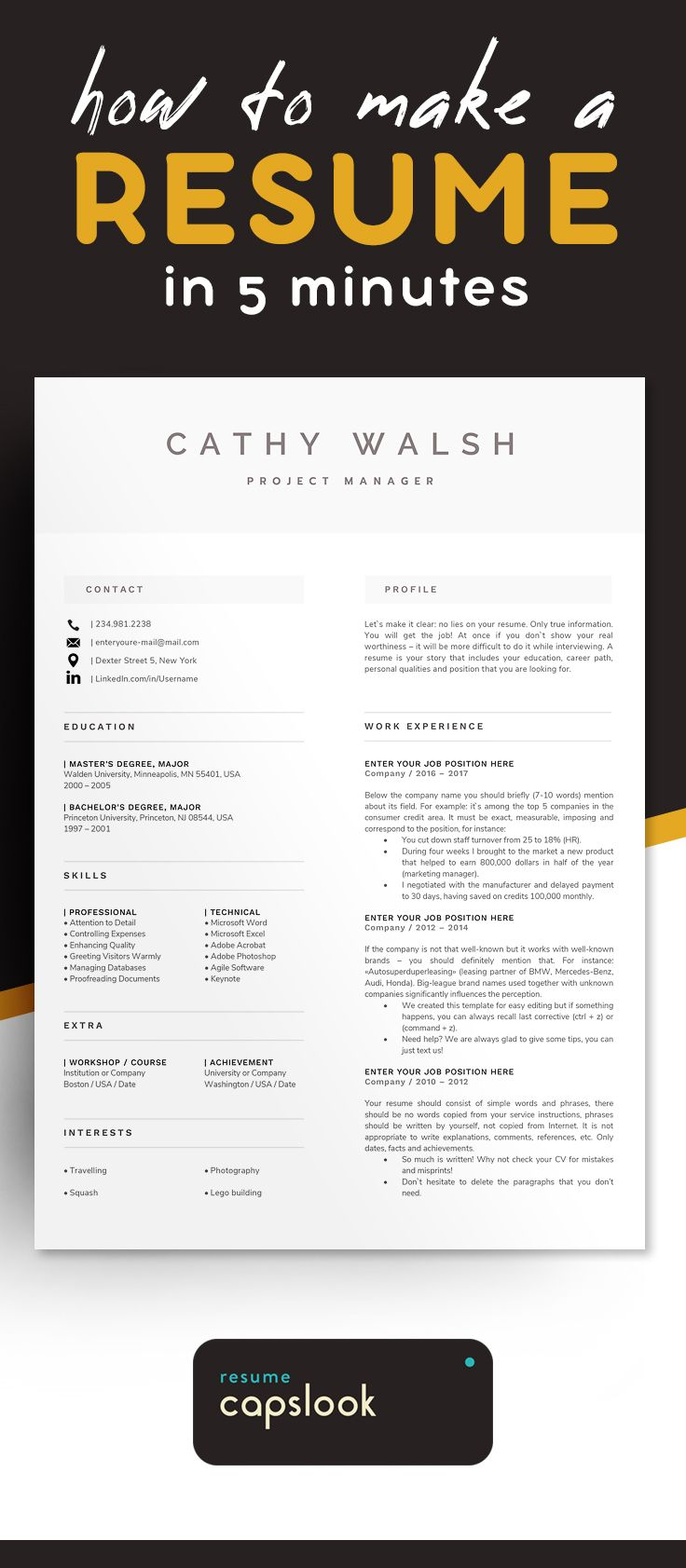 1 Page Resume Template | Modern And Professional Cv Template Format For Any  Job, Great Layout Design | Modern Resume Templates Download On Etsy 2018