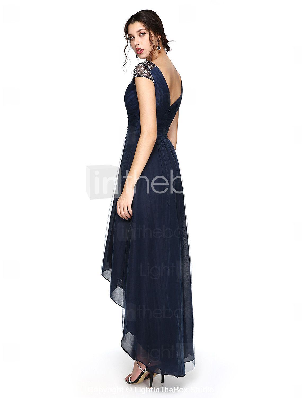 Sheath column vneck asymmetrical tulle prom formal evening dress