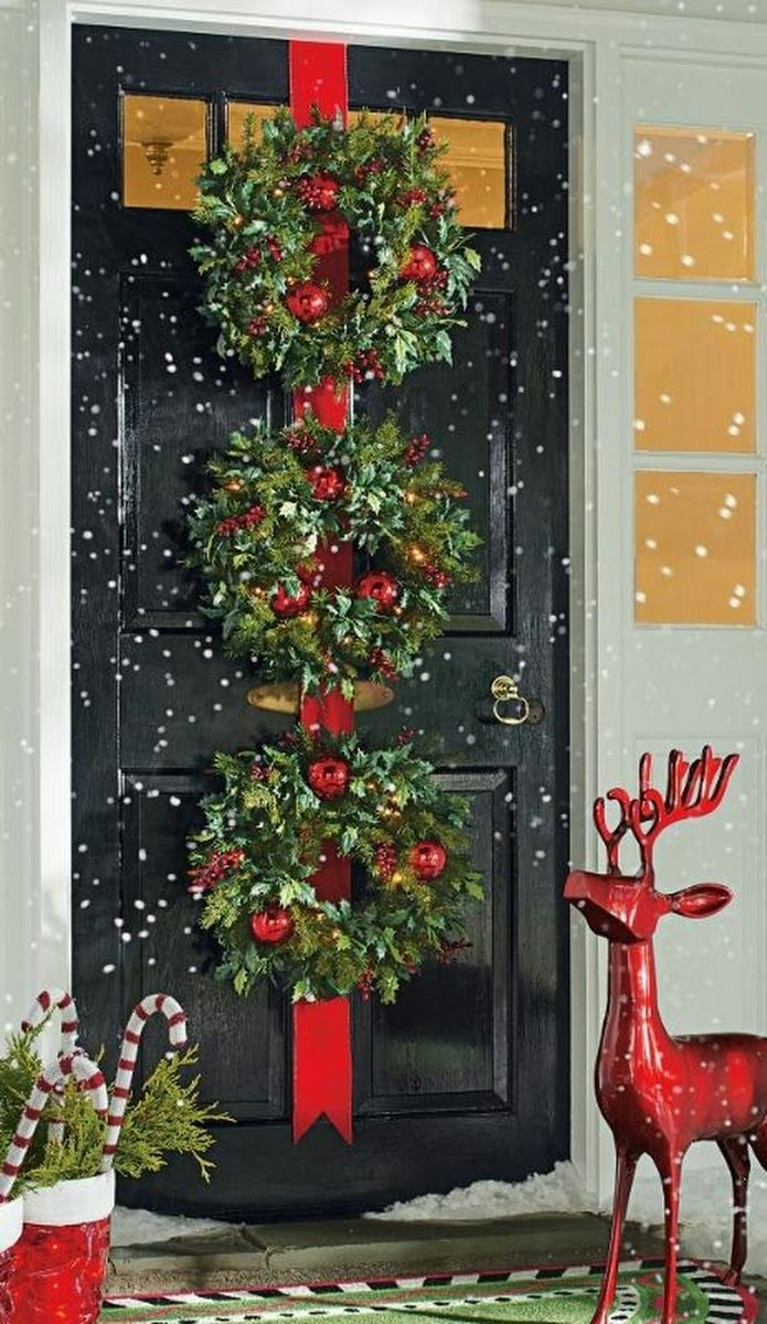 Outdoor porch christmas decorations  Christmas decor  christmas ideas  Pinterest  Christmas decor