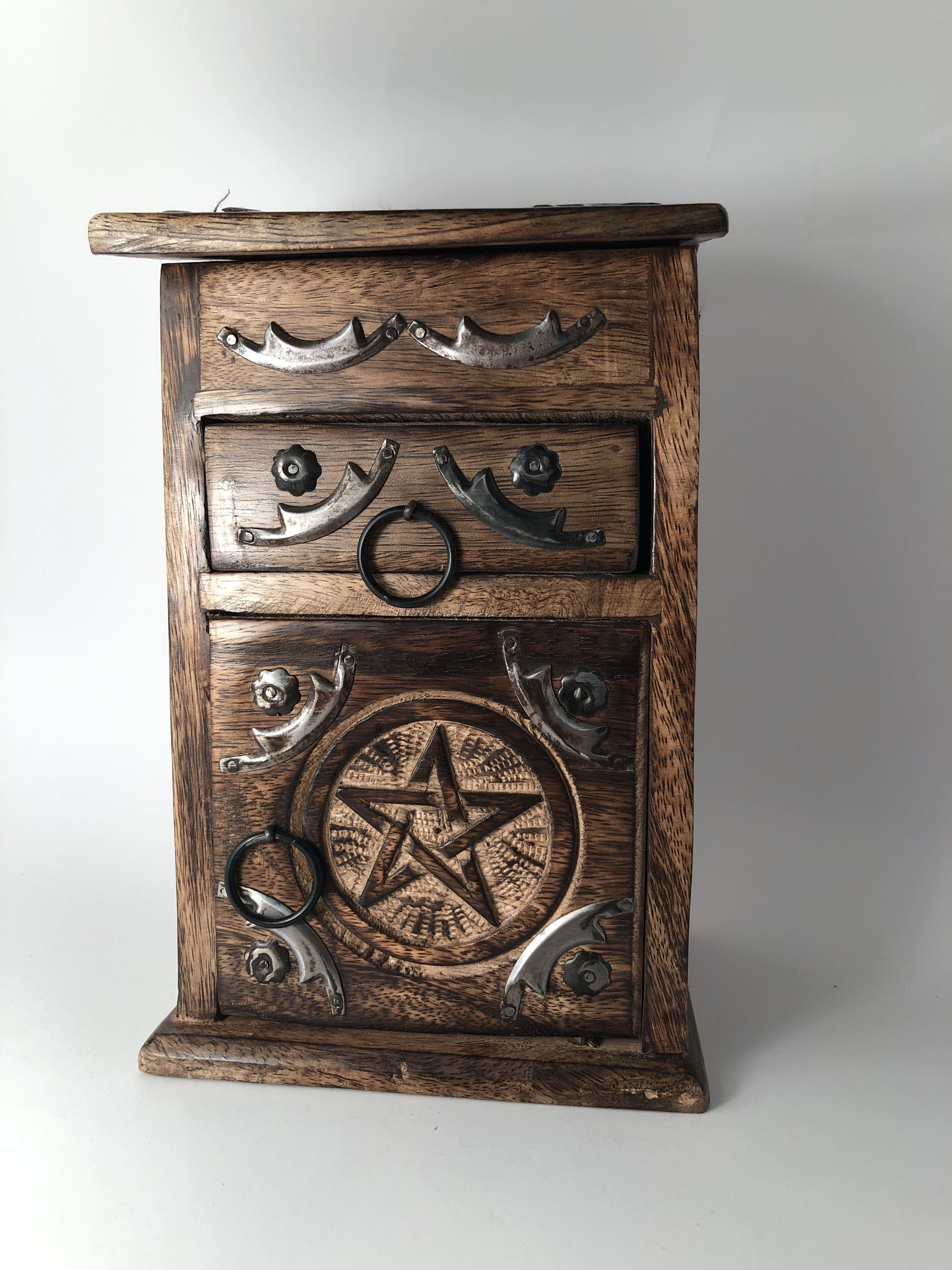 Pentagram Herb Cupboard Carved Wood Apothecary Witches Cabinet