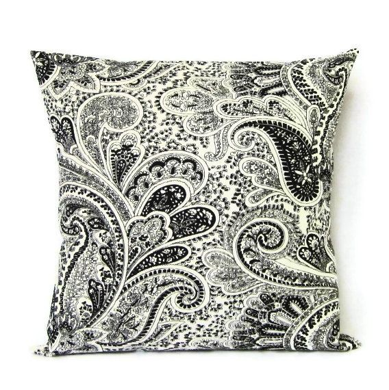 16x16 Throw Pillow Cover Black White Paisley Home Decor Decorative Cotton