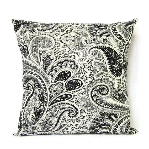 16x16 Throw Pillow Cover Black White Paisley Home Decor Decorative Cotton