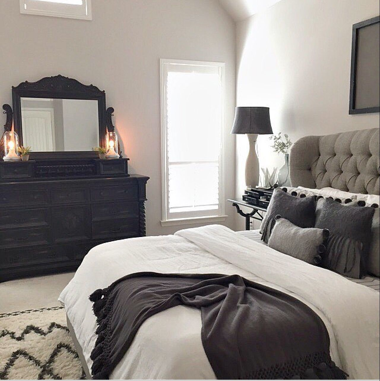 Master bed tufted grey headboard for our home Black and silver bedroom ideas