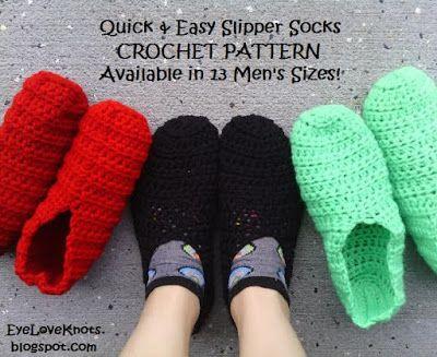 Quick And Easy Slipper Socks In 13 Mens Sizes Free Crochet