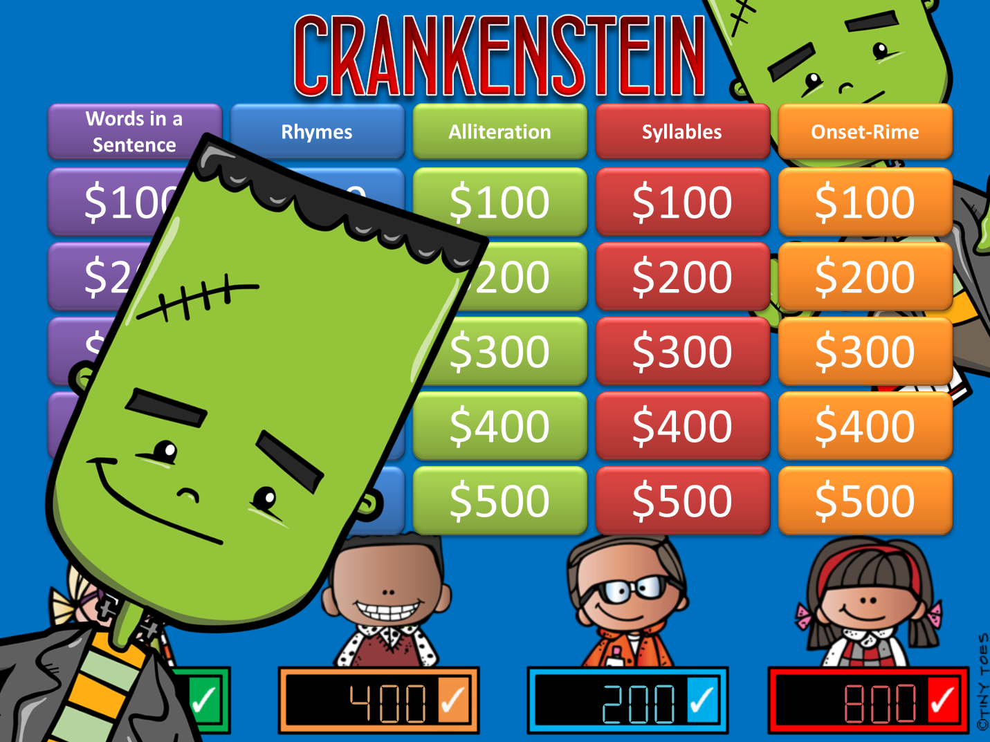 Crankenstein Phonemic Awareness Jeopardy Style Game Show