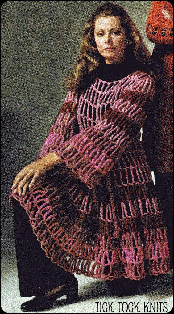 No.140 PDF Vintage Crochet Pattern Women\'s Unusual Cage Dress ...
