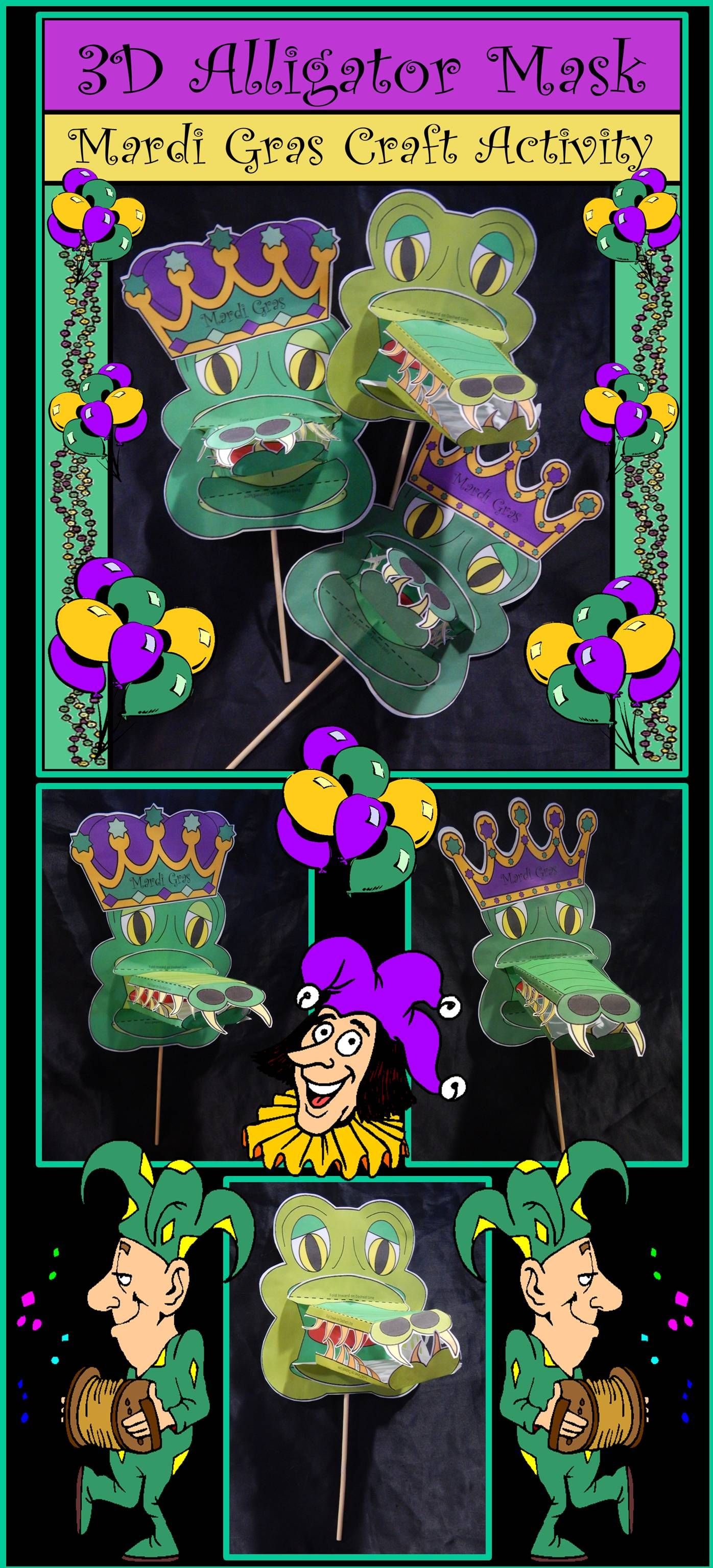 Mardi Gras Craft Activities 3d Alligator Mask Craft