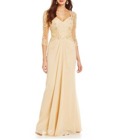 957e69c87f8 MGNY Madeline Gardner New York Beaded Applique Chiffon Gown  Dillards