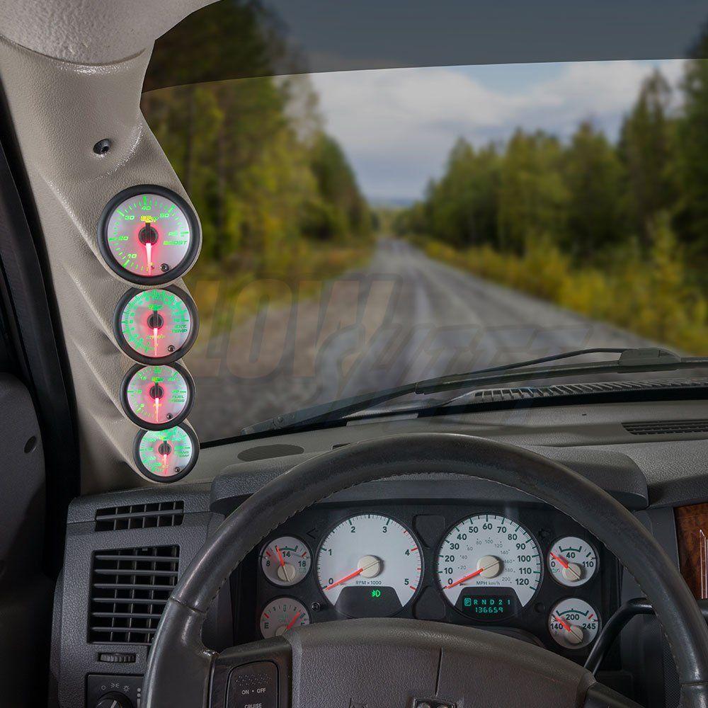 medium resolution of glowshift quad diesel gauge package for 20062009 dodge ram cummins white 7 color 60 psi boost