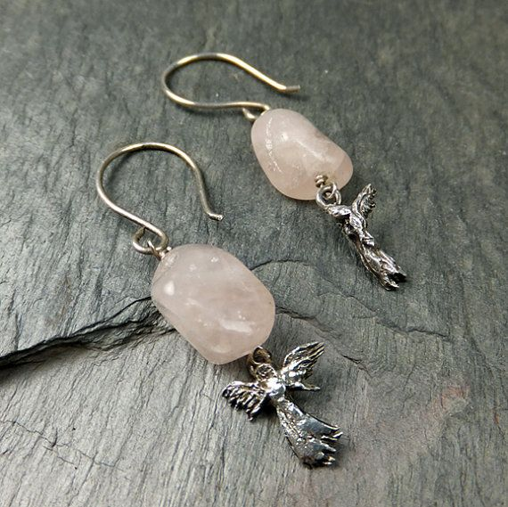 Angel Earrings Asymmetrical Sterling Silver Angel Rose Quartz Nugget Earrings byAngeline