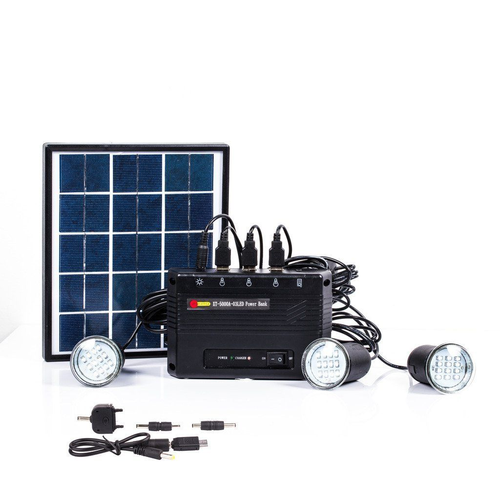 B-right 4W Solar Panel Lighting Kit, Solar Home Lighting System, USB ...