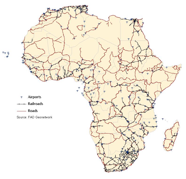 Mapa da rede de transportes da frica Africa transport frica